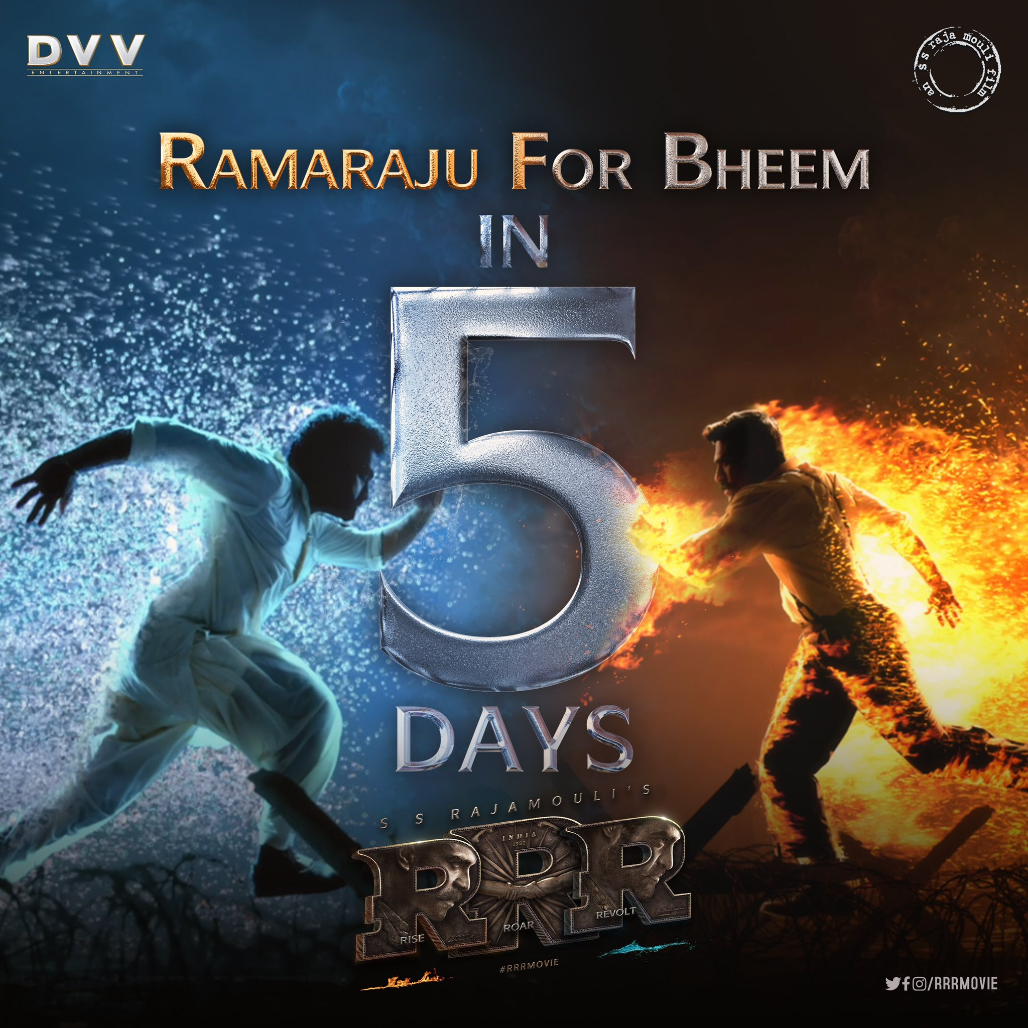 New Poster From RRR Ramaraju For Bheem In 5 Days Go