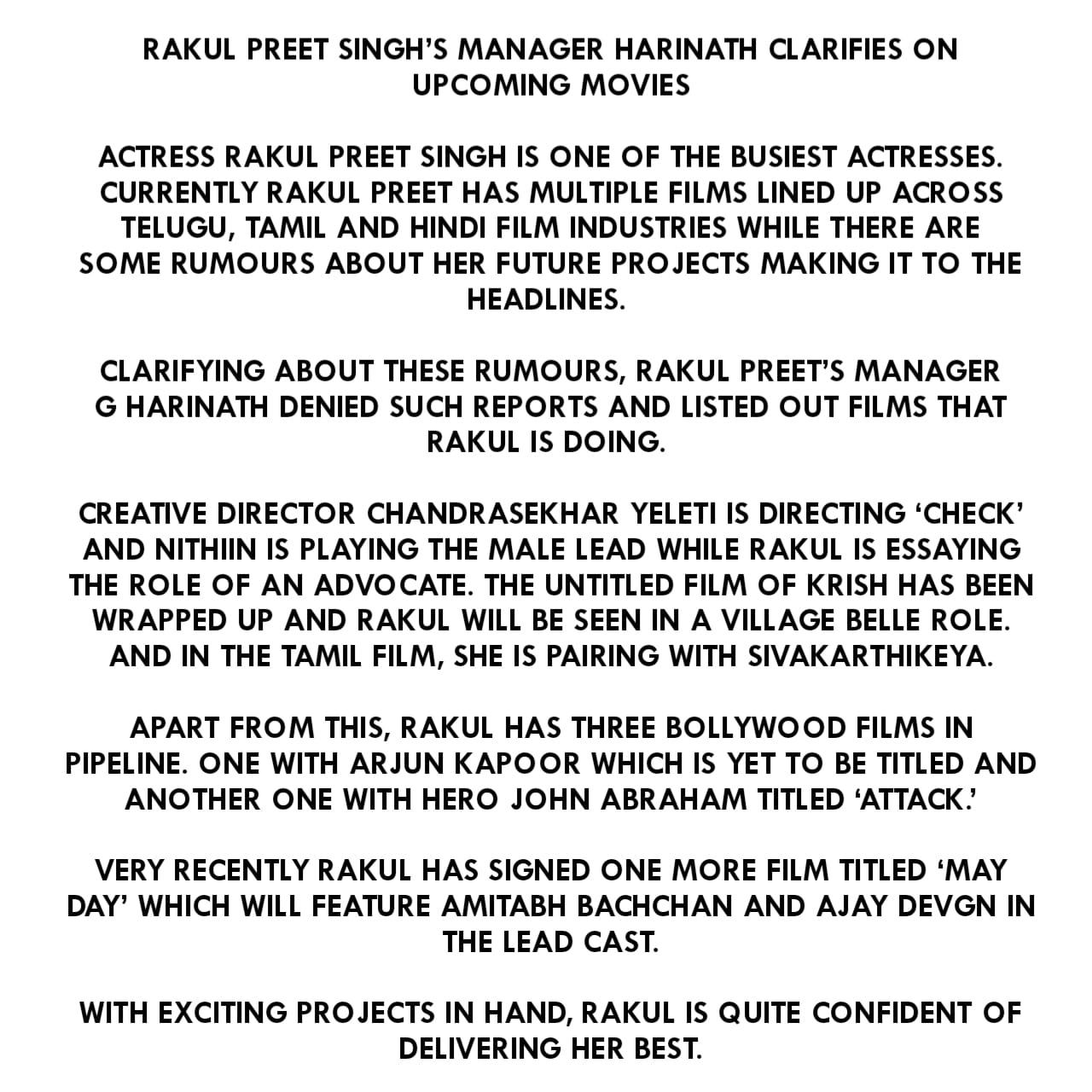 Here is the Rakul Preet Singh's Upcoming Movies list