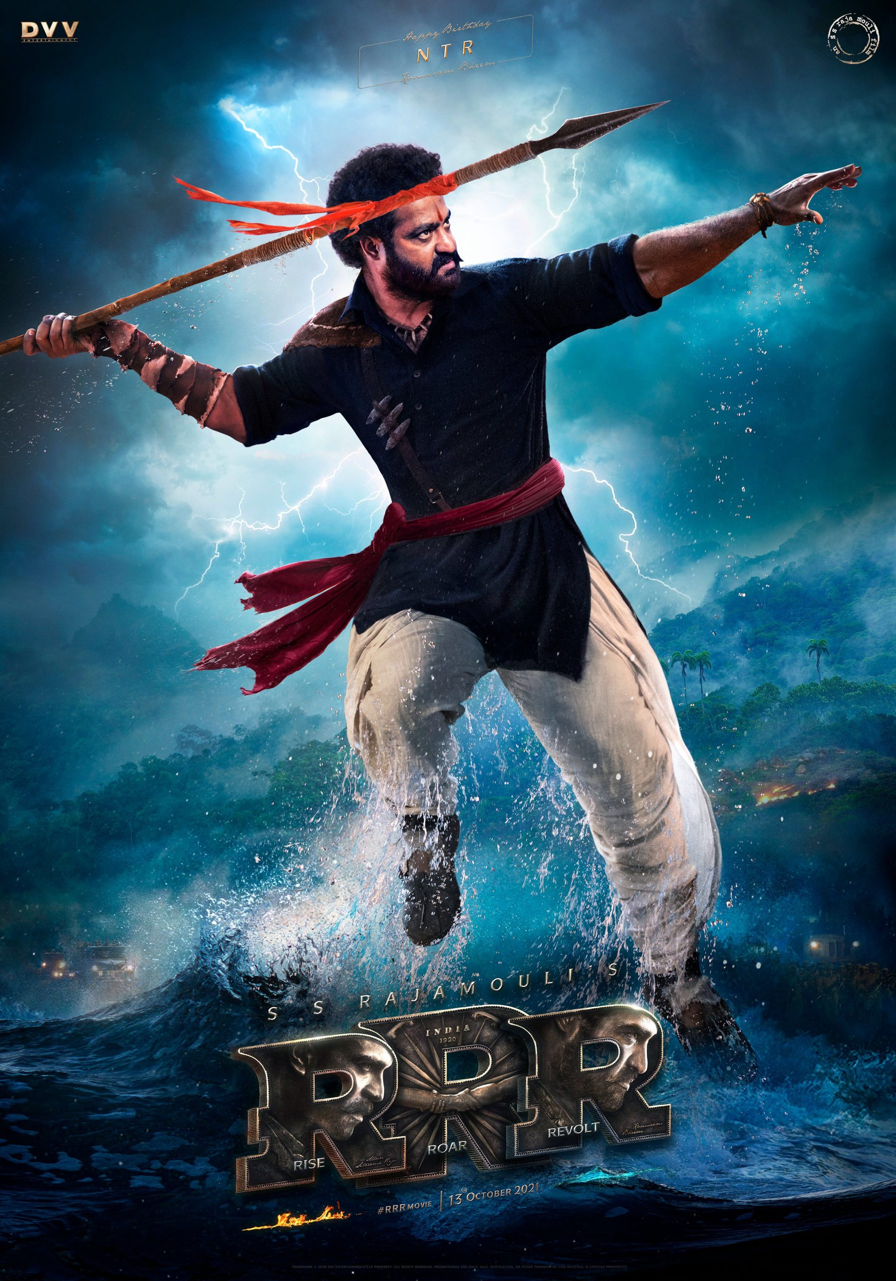 SS Rajamouli unveils Intense poster of Jr NTR from RRR