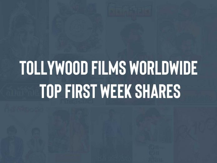 Tollywood films Worldwide Top First Week Shares