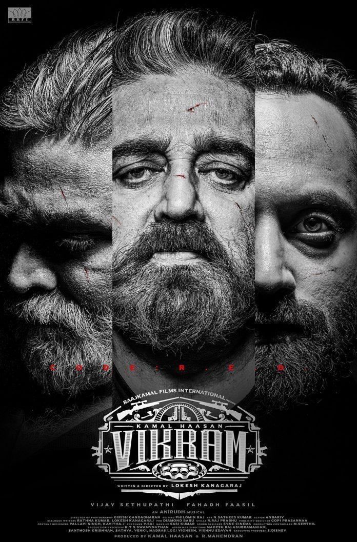 Vikram first-look poster out. Kamal Haasan, Vijay Sethupathi, Fahadh Faasil look intense